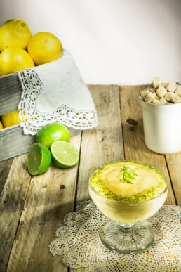 Food photography, tasty photo of lemon pudding with lime zest